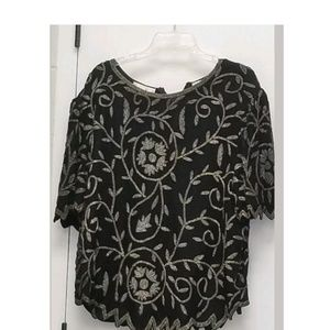 Vtg Laurence Kazar 3x Black beaded top.